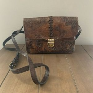 Patricia Nash Bark Leaves Leather Crossbody Bag